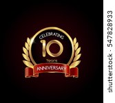 10 years gold anniversary... | Shutterstock .eps vector #547828933