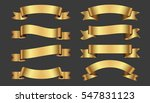 set of golden ribbons on gray... | Shutterstock .eps vector #547831123