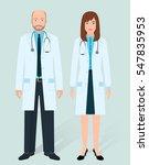 hospital staff concept. couple... | Shutterstock .eps vector #547835953