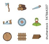 Sawmil And Timber Set Icons In...