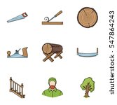 sawmil and timber set icons in... | Shutterstock .eps vector #547864243