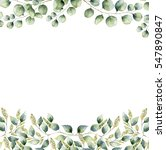 watercolor floral frame card... | Shutterstock . vector #547890847