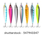 fishing lures set. realistic... | Shutterstock .eps vector #547943347