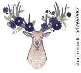 head of deer with big horns... | Shutterstock .eps vector #547963987