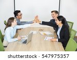 successful business team giving ... | Shutterstock . vector #547975357