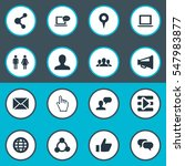 set of 16 simple social icons.... | Shutterstock .eps vector #547983877