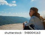 woman hiking sit down enjoy the ...   Shutterstock . vector #548004163