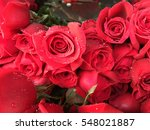 Heap Of Red Roses In A Retail...