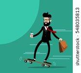 businessman riding skateboard... | Shutterstock .eps vector #548035813