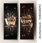 vip gold vertical banners with... | Shutterstock .eps vector #548068093
