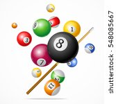 billiard ball with cue concept... | Shutterstock .eps vector #548085667
