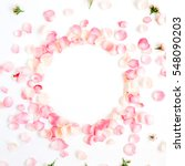 Stock photo frame made of pink roses petals on white background flat lay top view valentine s background 548090203