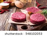 organic raw ground beef  round... | Shutterstock . vector #548102053