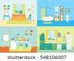 cartoon interior basic room of... | Shutterstock .eps vector #548106007