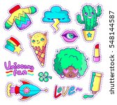 cool stickers set in 80s 90s... | Shutterstock .eps vector #548144587