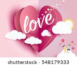 love Invitation card Valentine's day abstract background with text love and young joyful,clouds,paper cut pink heart. Vector illustration. | Shutterstock vector #548179333
