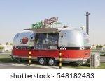 Small photo of DUBAI, UAE - NOV 27, 2016: Airstream caravan food truck at the Last Exit food trucks park on the E11 highway between Abu Dhabi and Dubai