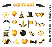 set of carnival gold icons and... | Shutterstock .eps vector #548208013