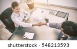 above view of young consultant... | Shutterstock . vector #548213593