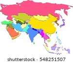 colorful political map of asia | Shutterstock . vector #548251507