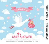 Baby Shower Card. Stork...