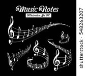 wavy music staves. vector set... | Shutterstock .eps vector #548263207