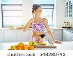 young happy woman doing fresh... | Shutterstock . vector #548280793