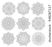 set of 9 flower mandalas. hand... | Shutterstock .eps vector #548287117