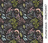 cute watercolor flower pattern... | Shutterstock . vector #548293447