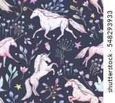 watercolor pattern unicorns ... | Shutterstock . vector #548293933