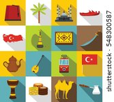 turkey travel icons set. flat... | Shutterstock .eps vector #548300587