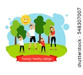 familys healthy lifestyle... | Shutterstock .eps vector #548307007