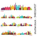 skyline detailed silhouette set ... | Shutterstock .eps vector #548316937