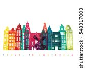 amsterdam detailed skyline.... | Shutterstock .eps vector #548317003