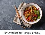 stir fry beef with vegetables... | Shutterstock . vector #548317567