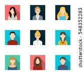 avatar set icons in flat style. ...   Shutterstock .eps vector #548352283