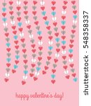 happy valentines day card with... | Shutterstock .eps vector #548358337