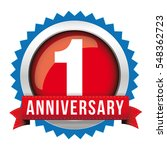 one year anniversary badge with ... | Shutterstock .eps vector #548362723