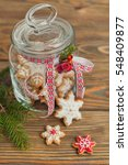 glass jar with gingerbread... | Shutterstock . vector #548409877