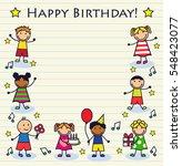 cartoon children celebrating... | Shutterstock . vector #548423077