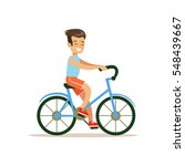 boy riding bicycle  traditional ... | Shutterstock .eps vector #548439667