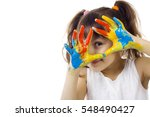 beautiful girl playing with...   Shutterstock . vector #548490427