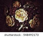 grunge flower background texture | Shutterstock . vector #548492173