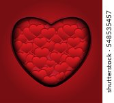 valentines hearts on red... | Shutterstock .eps vector #548535457