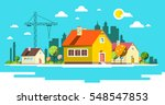 landscape with houses. flat... | Shutterstock .eps vector #548547853