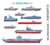 military boats collection with... | Shutterstock .eps vector #548568973