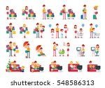 set of familiar people scenes... | Shutterstock .eps vector #548586313