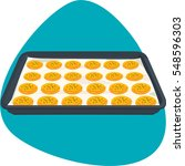 sheet pan with cookies on... | Shutterstock .eps vector #548596303