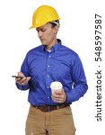 man construction worker on a... | Shutterstock . vector #548597587