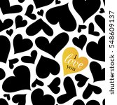 vector black and white hearts... | Shutterstock .eps vector #548609137